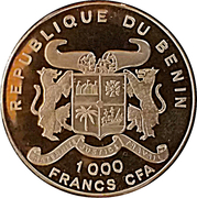 1000 francs CFA Coupe du monde de football France 1998 – avers