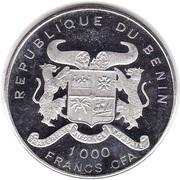 1000 francs CFA (Iguanodon) – avers