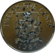 25 cents - Elizabeth II (Anniversaire des Bermudes) -  revers