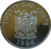 25 cents - Elizabeth II (2nd portrait) Anniversary of Bermuda) - St. George – revers