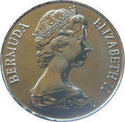 25 cents - Elizabeth II (2nd portrait) Anniversary of Bermuda) - Smith's parish -  avers