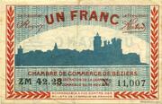 1 franc - Chambre de Commerce de Béziers [34] – avers