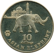 10 Shillings (Asian Elephant) – revers