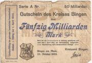 50,000,000,000 Mark (Bingen am Rhein) – avers