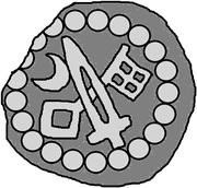 1 hohlpfennig Anonyme (épée droite; clé gauche et facé vers le bas; lune gauche) – avers