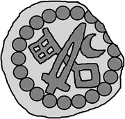 1 hohlpfennig Anonyme (épée droite; clé gauche et facé vers le bas; lune gauche) – revers
