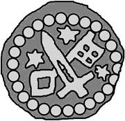 1 hohlpfennig Anonyme (épée droite; clé gauche et facé vers le bas; étoile gauche, droite, et au-dessus) – avers