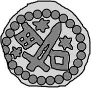 1 hohlpfennig Anonyme (épée droite; clé gauche et facé vers le bas; étoile gauche, droite, et au-dessus) – revers