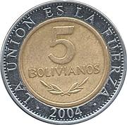 5 bolivianos -  revers