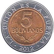 5 bolivianos (Estado Plurinacional de Bolivia) -  revers