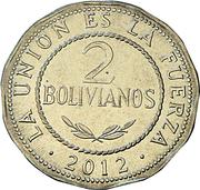 2 bolivianos (Estado Plurinacional de Bolivia) -  revers