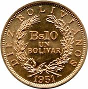10 bolivianos / 1 bolivar – revers