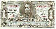 1 Boliviano L.1928 EMISION 1951. Series E14-Q14 – avers