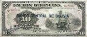 10 Bolivianos (overprinted) -  avers