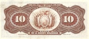 10 Bolivianos (overprinted) – revers