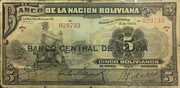5 Bolivianos (1929 Overprint Provisional Issue) – avers