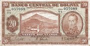 20 Bolivianos - 2 Bolivares (1928) – avers