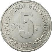 5 pesos bolivianos -  revers