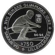 750 dinars (jeux Olympiques) – revers