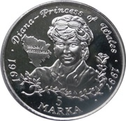 5 marka (Lady Diana Princesse de Galles) – revers