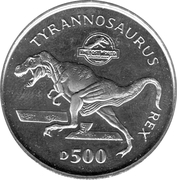 500 dinara (Jurassic Park) – revers