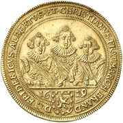 5 Ducat - Friedrich, Albert and Christian (Gold pattern strike) – avers