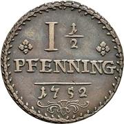 1-½ Pfennig - Karl Wilhelm Friedrich – revers