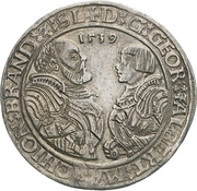 1 Thaler - Georg von Ansbach and Albrecht the Young – avers