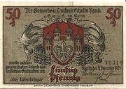 50 Pfennig (Kyritz - Gewerbe- und Landwirtschaftsbank e.G.m.u.H.) – avers