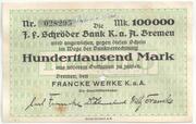 100 000 Marks (J. F. Schröder Bank) – avers