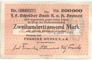 200 000 Mark (J. F. Schröder Bank) – avers
