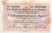 500 000 Mark (J. F. Schröder Bank) – avers