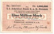 1 000 000 Mark (J. F. Schröder Bank) – avers