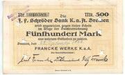 500 Mark (J. F. Schröder Bank) – avers