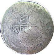 60 réis João IV (Contremarquée sur ½ tostão) – avers
