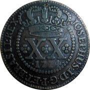 20 réis - José I (parallèles fines sur le globe) – avers