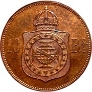 10 réis - Pedro II – revers