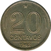 20 centavos - Vargas (Cupronickel) -  revers