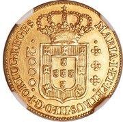 2000 réis - Maria I & Pedro III – avers
