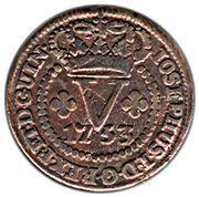 5 réis - José I (parallèles fines sur le globe) – avers