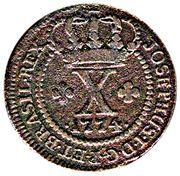 10 réis - José I (parallèles fines sur le globe) – avers