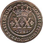 20 réis - Maria I et Pedro III – avers
