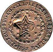 10 réis - Pedro II (Contremarquée 20 réis avec étoile CEARÁ) – revers