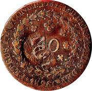 10 réis - Pedro I (Contremarquée 40 réis, KM#364.1) – avers