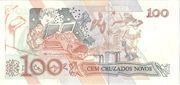 100 Cruzeiros (Stamped 100 Cruzados Novos) – revers