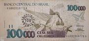 100 Cruzeiros Reais (Stamped on 100.000 Cruzeiros) – avers