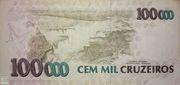 100 Cruzeiros Reais (Stamped on 100.000 Cruzeiros) – revers