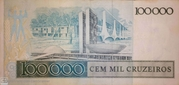 100000 Cruzeiros (Banco Central do Brasil; 2nd family) – revers