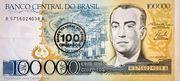 100 Cruzados on 100,000 Cruzeiros – avers