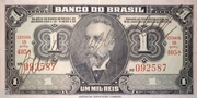 1 Cruzeiro (reuse of the 1 Mil Réis banknote) – avers